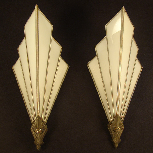 Art Deco Theater Lamps Pair